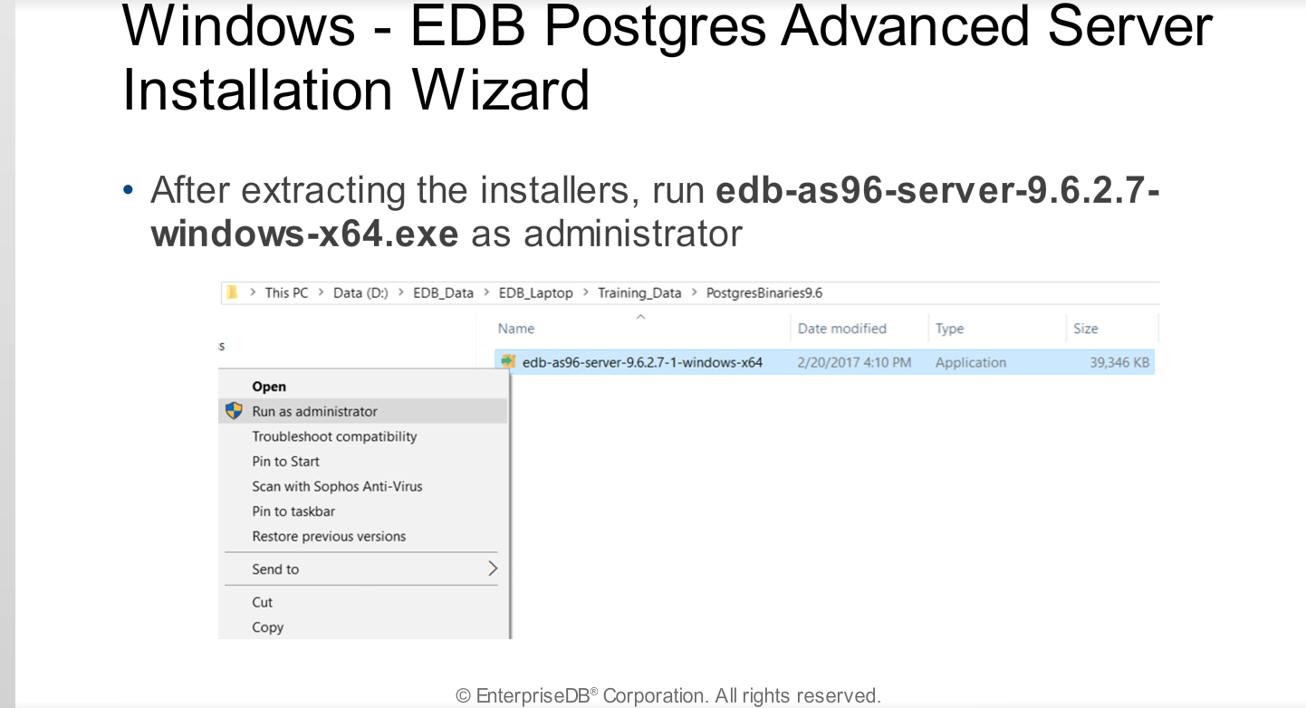 Module 3 - EDB Postgres Advanced Server Installation
