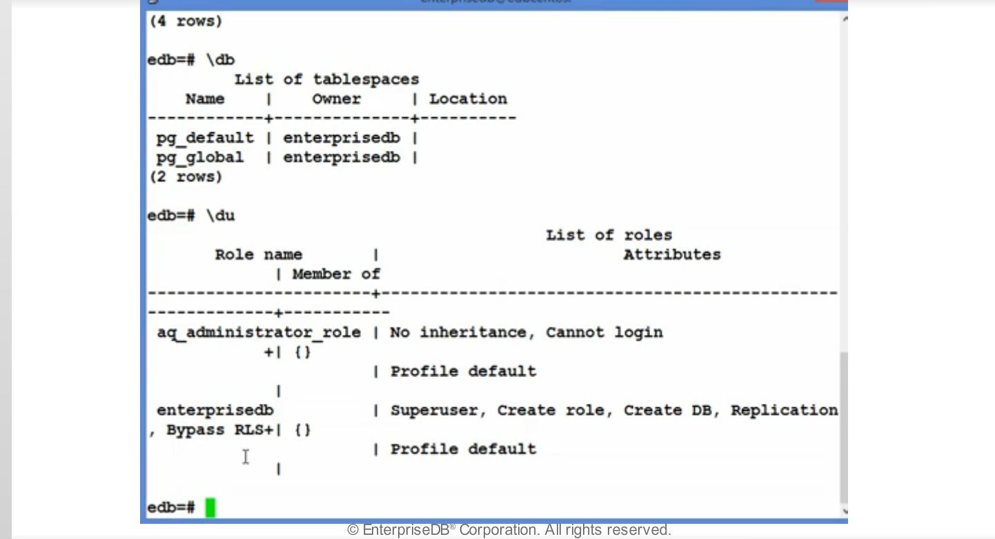 Module 6 - Creating and Managing Databases - Postgres Administration