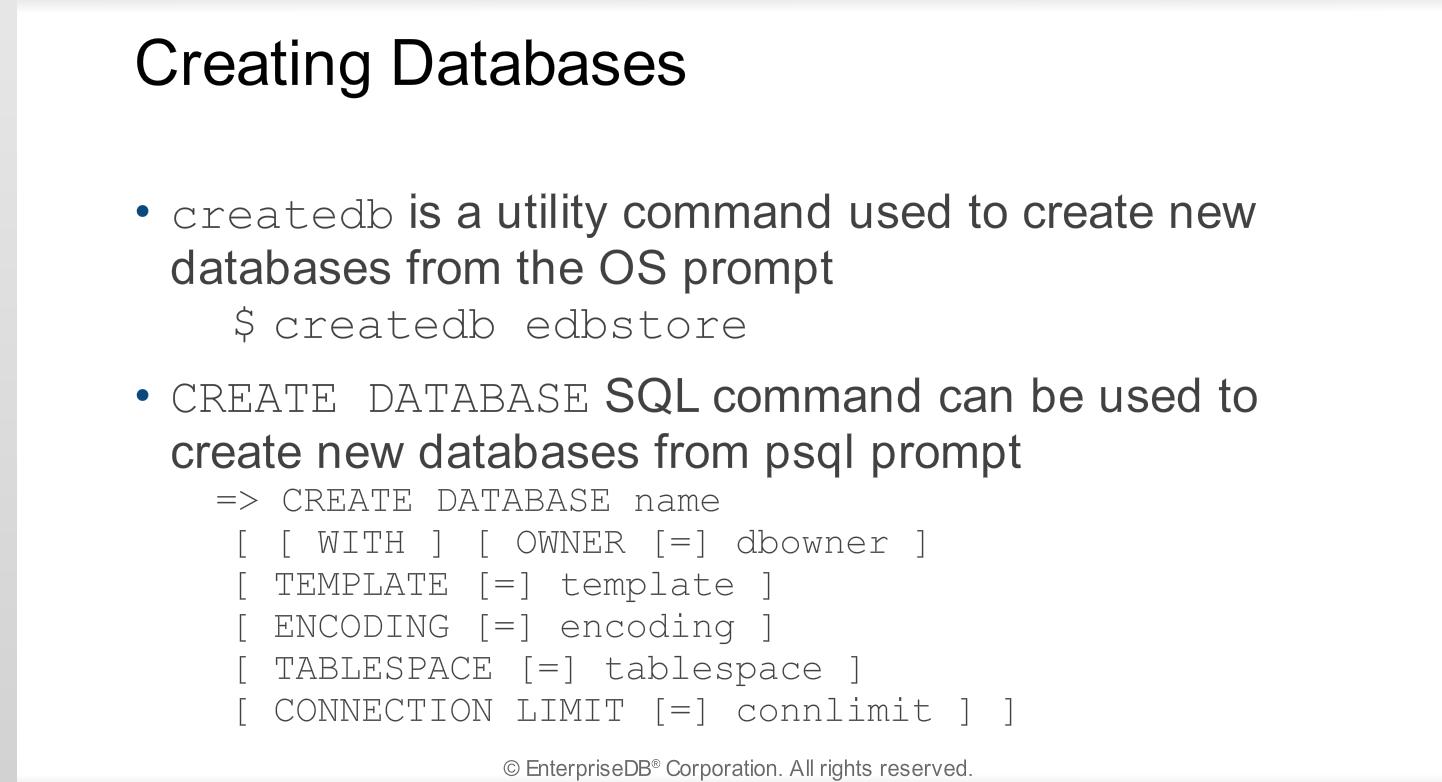 Module 6 - Creating and Managing Databases - Postgres